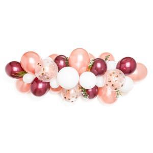 Organisk Ballonggirland Rose, vinröd och vitt 2 meter