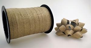 Glitter Rosetter med presentband 5-pack Guld beige