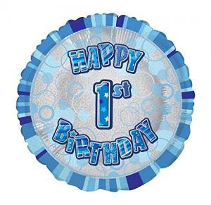 ballong födelsedag  1år blå glitter