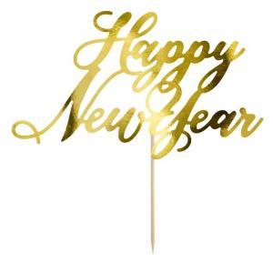 Tårtdekoration Happy New Year, Guld