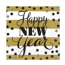 Servetter Happy New Year guld vit randig