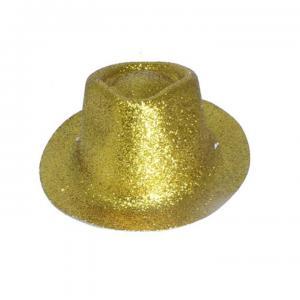 Minihat cowboy glitter guld
