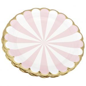 Papperstallrik ljusrosa & vit med guldkant
