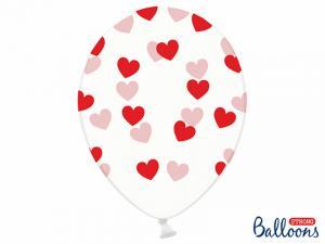 Latexballonger Genomskinlig Röd Hjärtan 30cm