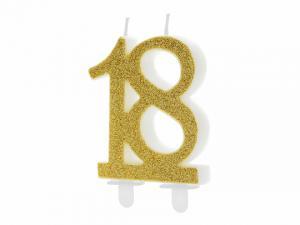 Födelsedagsljus Guld 18 7,5cm