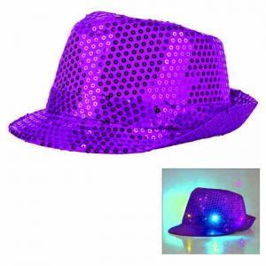 Paljetthatt LED lampa lila