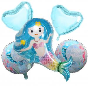 lila sjöjungfru set med helium