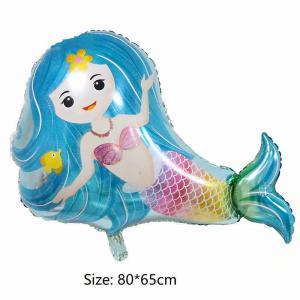lila sjöjungfru med helium