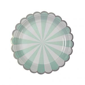 Papperstallrik  ljusgrön & vit med silverkant