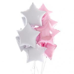 helium ballongbukett stjärnor rosa
