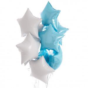 helium ballongbukett stjärnor ljusblå