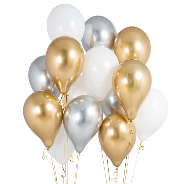 ballongbukett guld och vit