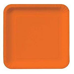 Fyrkantig orange papperstallrik