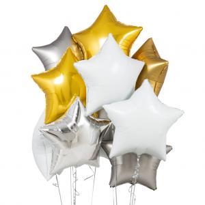 helium ballongbukett stjärnor lyx