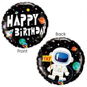 rymden Happy birthday foileballong 2