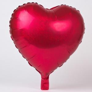 Folie ballong hologram hjärta röd
