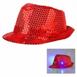 Paljetthatt LED lampa röd