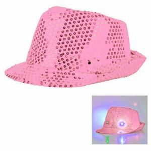Paljetthatt LED lampa Rosa