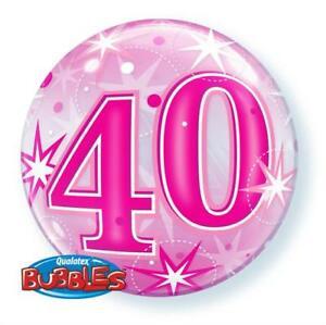 Bubbles ballong 40 år rosa