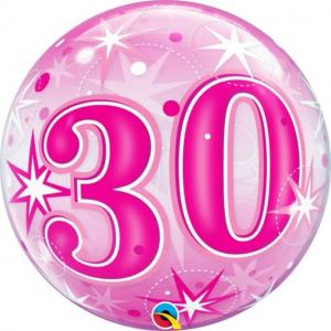 Bubbles ballong 30 år rosa