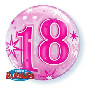 Bubbles ballong 18 år rosa
