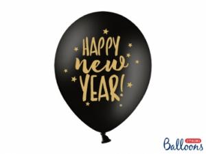 Latexballonger Happy New Year, Svart