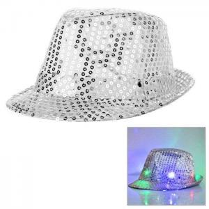 Paljetthatt LED lampa silver