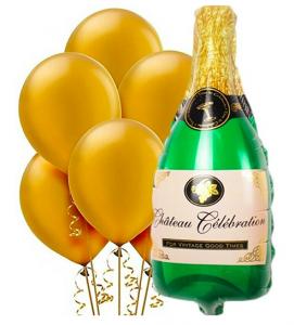 nyårsballonger guld ballonger champagne ballong
