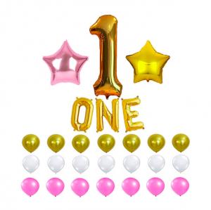 1år ballongset rosa