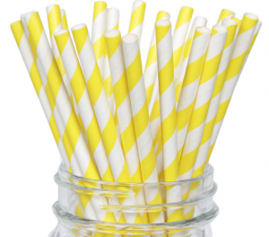 Papperssugrör gul spira