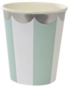Pappersmugg Randig Mintgrön & Silver 6-pack