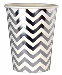 Pappersmugg Chevron Silver 6-pack