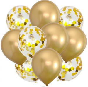10st Konfetti & Chrome heliumballonger Guld