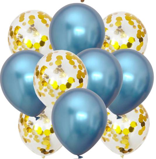 10st Konfetti & Chrome heliumballonger Blå & Guld