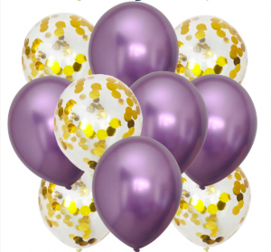 10st Konfetti & Chrome heliumballonger Lila & Guld