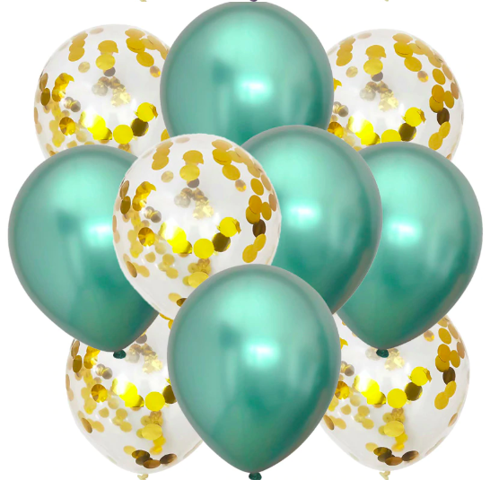 10st Konfetti & Chrome heliumballonger Grön & Guld