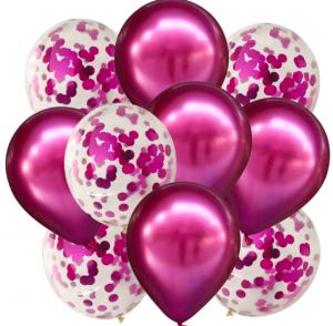 10st Konfetti & Chrome heliumballonger Cerise Rosa