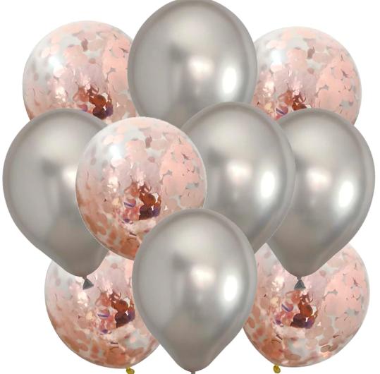 10st Konfetti & Chrome heliumballonger Rose & Silver
