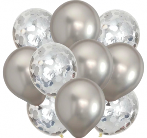 10st Konfetti & Chrome heliumballonger Silver