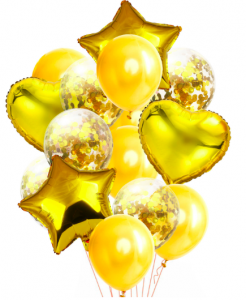 Ballongbukett Konfetti 14st Guld