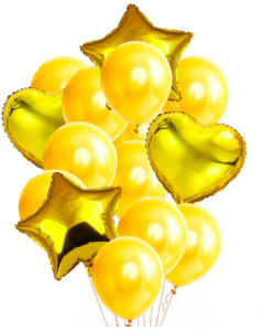 Ballongbukett 14st Guld