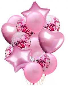 Ballongbukett Konfetti 14st Rosa