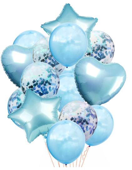 Ballongbukett Konfetti 14st Ljusblå