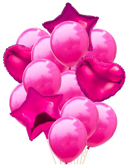 Ballongbukett 14st Cerise Rosa