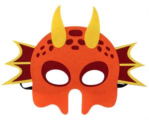Drak mask röd med gula horn och orangea detaljer