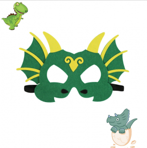 Drak mask grön med gula horn