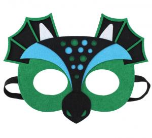 Drak mask grön med svarta och blåa detaljer