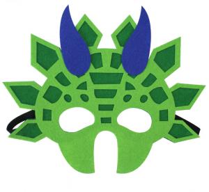 Drak mask grön med blå horn