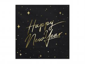 Servetter Happy New Year, Svart