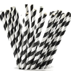 Papperssugrör svart vit randig